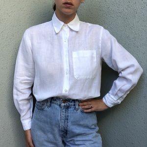 [vintage] linen crisp white button up shirt